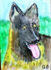 ACEO ANIMAL ART PAINTING 'GERMAN SHEPHERD' SIGNED ORIGINAL