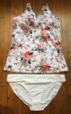 Ex Marks and Spencer Tankini Bikini Size 16 Floral White