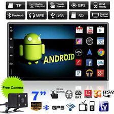 "Android WiFi Double 2 Din 7"" Car GPS Nav Stereo MP5 MP3 Player BT Radio + Camera"