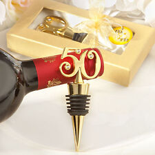 1 Golden 50 50th Anniversary Birthday Wedding Wine Bottle Stopper Favor Gift