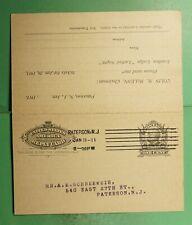 1911 PATERSON NJ MACHINE CANCEL DOUBLE POSTAL CARD F&AM LODGE