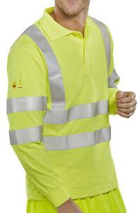 Click Fire Retardant Hi Vis Anti Static L/S Polo Shirt. Yellow - Cfrhvpslsas