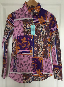 Hawes And Curtis Ladies Shirt Purple And Pink Patchwork Size 8 New With Tags