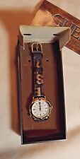"""1997 GUESS WOMAN WRISTWATCH NEVER USED ORIG BOX INDIGLO RUBBER BAND 8 3/4"""" LG"""