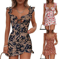 Women Boho Floral Summer Mini Dress Ladies Holiday Beach Party Bodycon Dresses