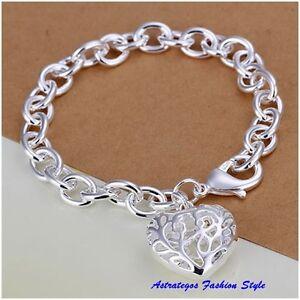 Massives Armband,Silber plattiert super Verschluss mit großem Herzanhänger
