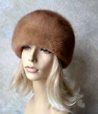 "VTG Genuine Honey blonde MINK FUR HAT, TURBAN STYLE, LIGHT BROWN, 21"", real fur"