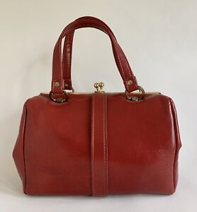 St Michael Vintage 1960s Red Faux Leather Handbag Fabric Lining Elbief Frame