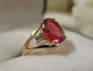 Vintage Jewellery Gold Ring Ruby & White Sapphires Art Deco Design size 8 (14)