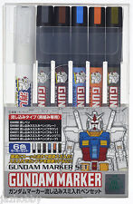 Mr. Hobby GMS122 Gundam Marker Panel Line Accent Set Paint Color Pen 6pcs Bandai