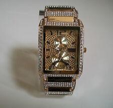 Men's Gold Finish Hip Hop Bling Geneva  Iced Out Wrist Fashion Dressy Watch