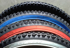 1-26x2.10 MOUNTAIN BICYCLE TIRE -BLACK/RED/BLUE/WHITE WALL--REPLACEMENT TIRES
