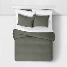 Duvet cover bedding set king size pillow shams olive army green modern cotton 3p