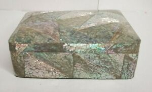 Vintage Mosaic Abalone Shell Mother of Pearl Inlay Jewelry Box Made in Thailand