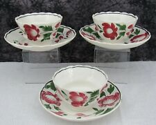 (3) Antique Staffordshire Early Adams Rose Pearlware Cups & Saucers