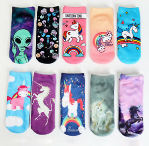 2020 Unicorn Rainbow Fashion Prints 3D Ankle Socks Everyday Casual Free Gift Bag