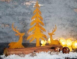 Deko Skulptur Hirsch 26cm Holzsockel Tischdeko Weihnachtsdeko Metall Weihnachten