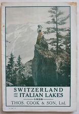 SWITZERLAND & The ITALIAN LAKES 1928 Railroad Programme of Tours Thos.Cook & Son