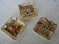3 Vintage New Hall Hanley England Litho Print Ash Tray :- Oliver Twist