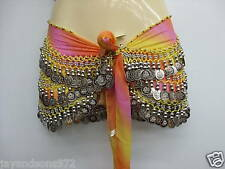 Pink, Yellow, Orange Tie Dye Belly Dance Gypsy Scarf with Silver Coins