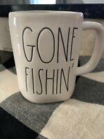 New! Rae Dunn Gone Fishin' Coffee Tea Mug Cup Large Letter HTF Camp Fishing Lake