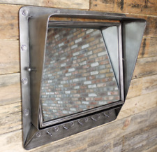 Industrial Mirror Wall Mountable With 5 Hooks Hallway Decor Hat Coat Hangers
