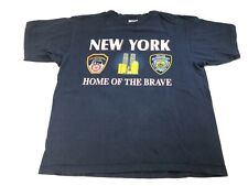 Vintage New York Home Of The Brave NYPD FDNY September 11th Towers Shirt Sz:L