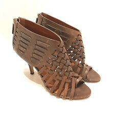 GIVENCHY - Dark Brown Woven Leather Open Toe High Heel Gladiator Sandals 6 36