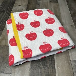 Land Of Nod Reversible Toddler Bedding Quilt Blanket Red White Blue Yellow Apple