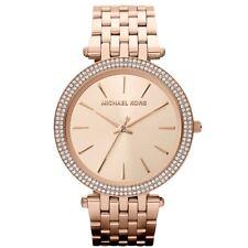 Michael Kors Ladies Darci Embellished Rose Gold Tone Slim Watch MK3192