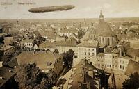 Historische Postkarte 1915, Cottbus Brandenburg Stadtansicht, Zeppelin, gelaufen