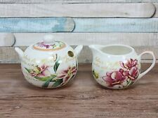Flower garden floral milk cream jug and sugar bowl canister fine china