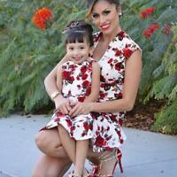 Mom&Me Baby Girls Kids Floral Rose Match Daughter Family Dress Sundress Clothes