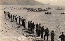 """RPPC """"Casters Line Up"""" KLAMATH RIVER MOUTH, CA Fishermen Vintage Photo Postcard"""