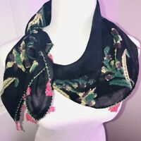 "Vintage Woven Challis Scarf 28"" Sq Floral Border Print Black Pink Crocheted Hem"