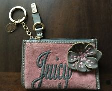 Juicy Couture Keychain / Coin Purse w Zipper Pink & Grey Excellent Condition!