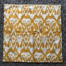 """Pottery Barn Mustard Yellow Embroidered Stitched Pillow Cover 20""""x20"""" Floral"""