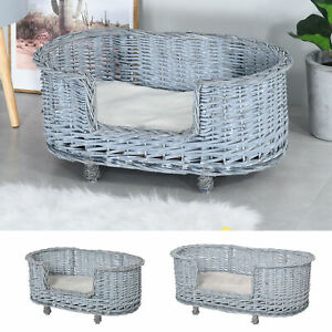 Dog Bed Basket Pet Sofa Cat Wiker Furniture Elevated Base w/ Soft Cushion