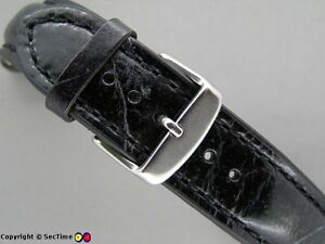High quality leather watch strap ODEON Black/Black 24mm