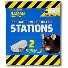 Racan Rapid 2 x Pre-Baited Alphachloralose Mouse Bait Stations for Mice Control