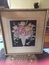 Lloyd Nelson Grofe Watercolor Still Life Coloful Flowers in Vase Painting