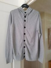 """Men's Topman Grey Hooded Cardigan, Long Sleeved, Size S (Chest 35/37"""") VGC"""