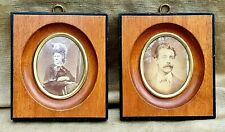 Pair Antique Mahogany Picture Frames Convex Oval Windows