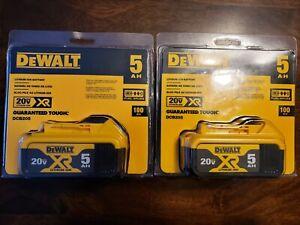 2 Brand New Dewalt 20 Volt 20v Max XR Li-Ion 5.0 AH Batteries DCB205  2021 Date
