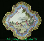 Chinese Enamel Color Porcelain Belle Beauty Tongzi Kid Fly Kite Dish Plate Tray