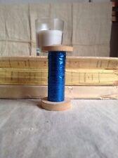 VINTAGE Francese Bobbin, Blu Metallico Filo Antico Mulinello/uno spool ricamo