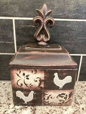"New ListingCeramic Square Pottery Rooster Jar Canister 11.5"" Home Decor Rustic Farmhouse"