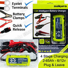 Sakura SS5313 6v 12v 1.5A New Plug & Leave Car Intelligent Smart Battery Charger