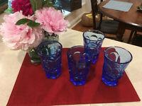 4 Mid-Century Fostoria Blue Glass Argus Pattern Flat Tumblers