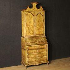 Trumeau veneziano laccato dipinto mobile ribalta comò doppio corpo stile antico
